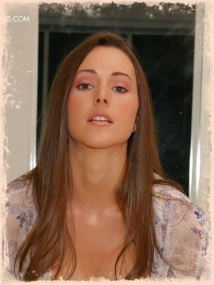 Stunning brunette Erica in her sexy robe flashing her perky, round tits in the shower