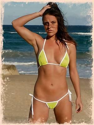 Veronica in a hot yellow mesh bikini