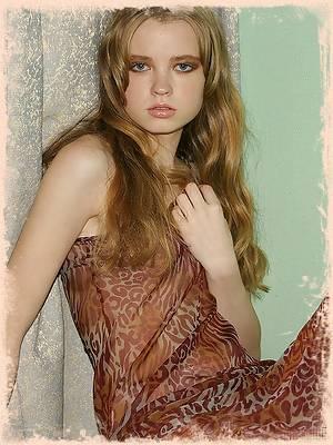 Wild girl Emanuelle in a sheer animalprint dress