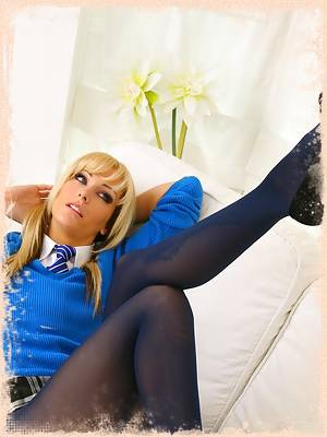 Sexy blonde Natasha Marley looks delightful in her gorgeous college uniform