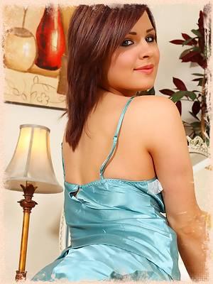 Jocelyn in blue silk nighty