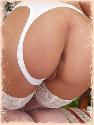 Laura in sexy white stockings