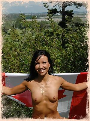 Trista gets naked on the Canadian Flag